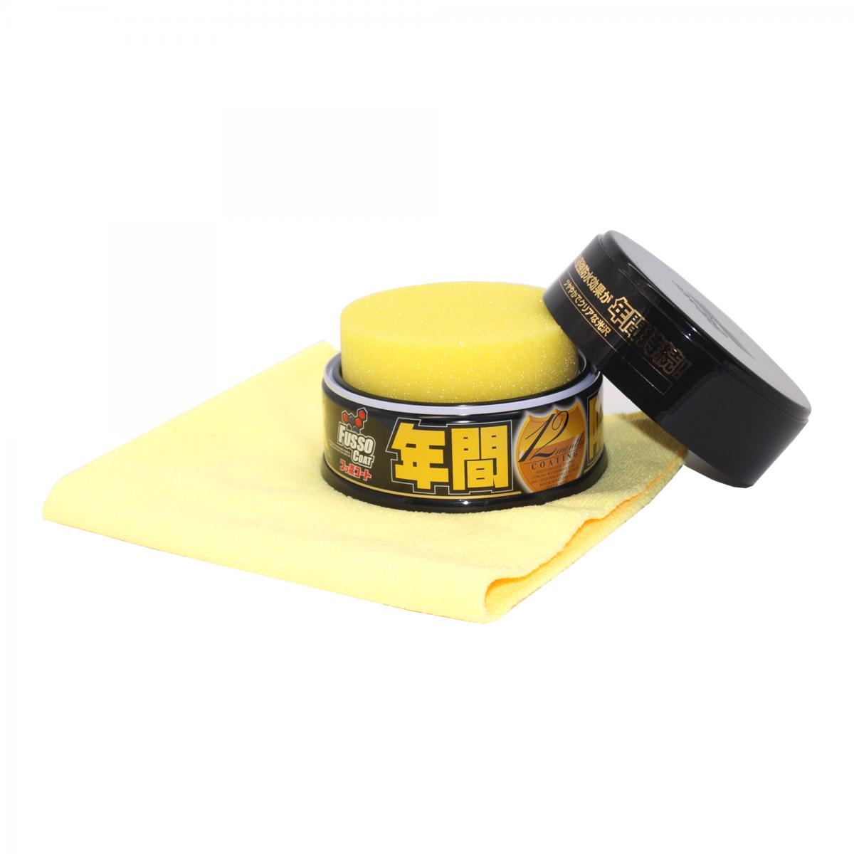 Autowachs Set: Soft99 Fusso Coat 12M Wax Dark und The Rag Company Edgeless 300 Mikrofasertuch